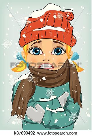 Clipart of Little girl freezing in winter cold wearing woolen hat.