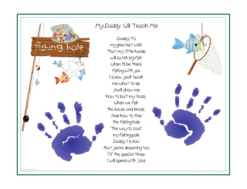 DADDY Teach Me~FISHING Poem Print Baby / Child Handprints Father's.