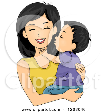 Clipart Parent Boy Hugging.