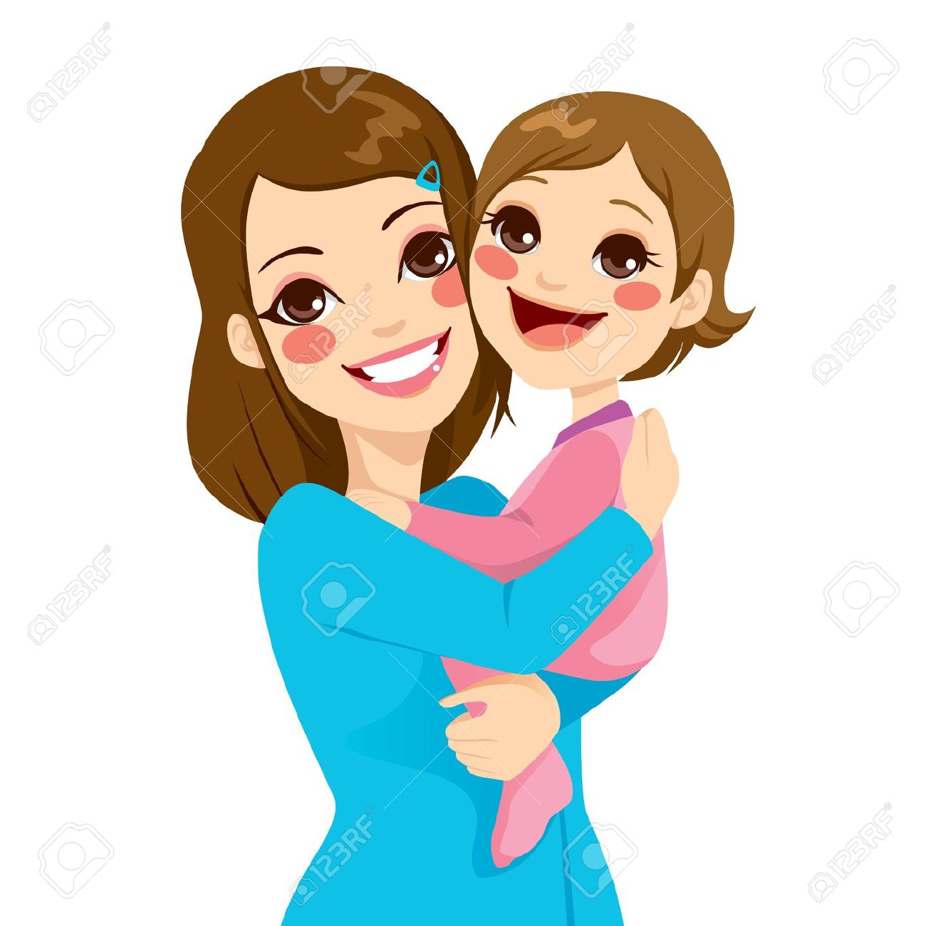 Mom Hugging Child Clipart.