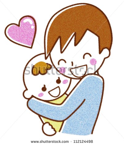 Clipart Boy Hugging Parent.