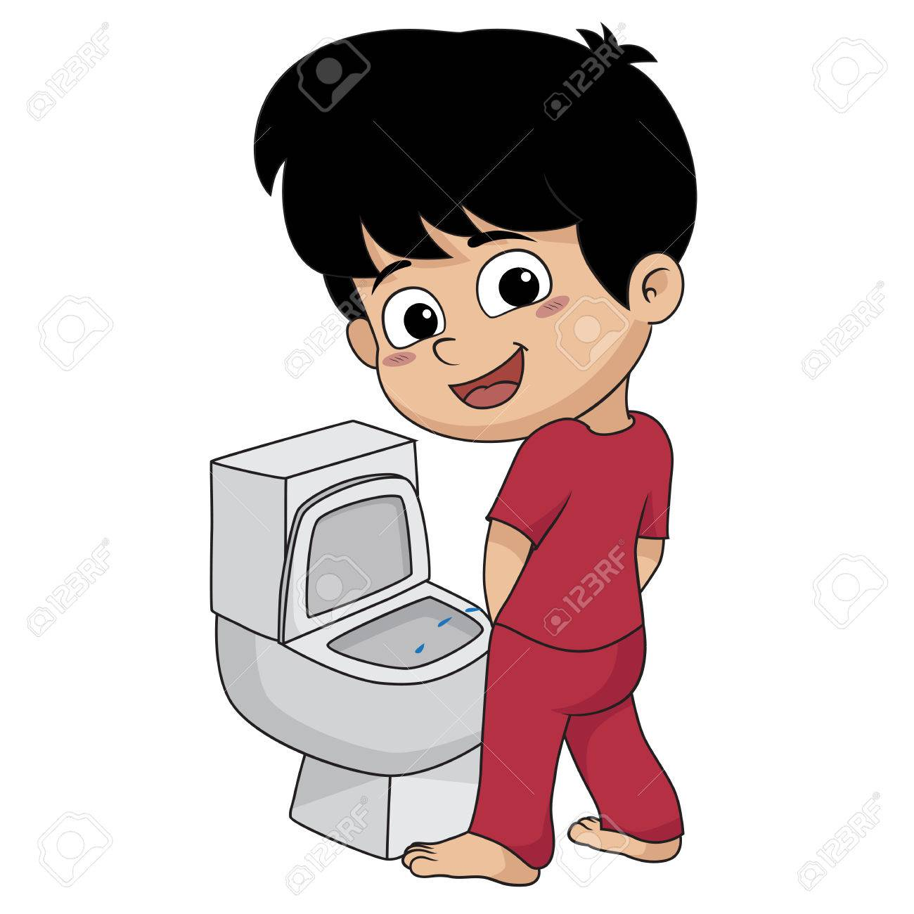 kid peeing.vector and illustration..