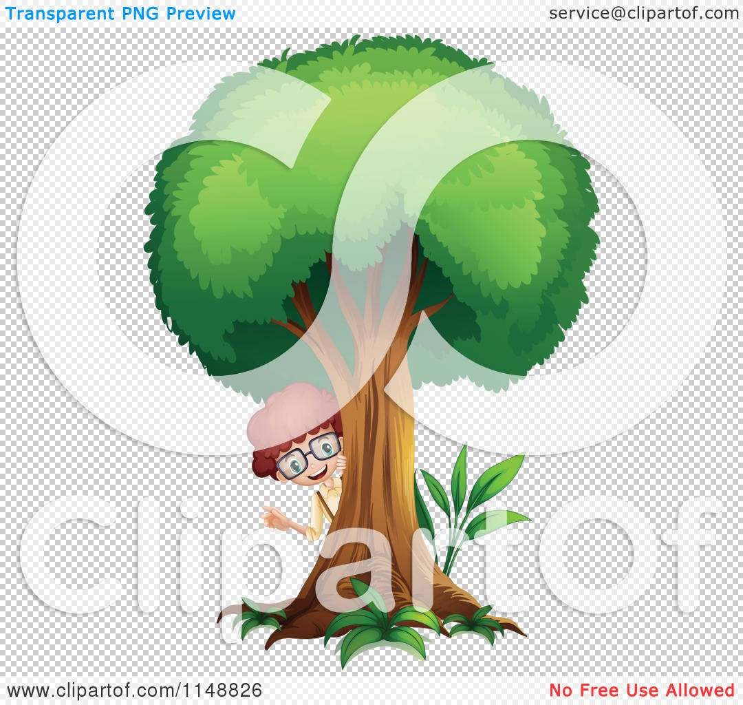 Cartoon of a Boy Peeking from Behind a Tree.