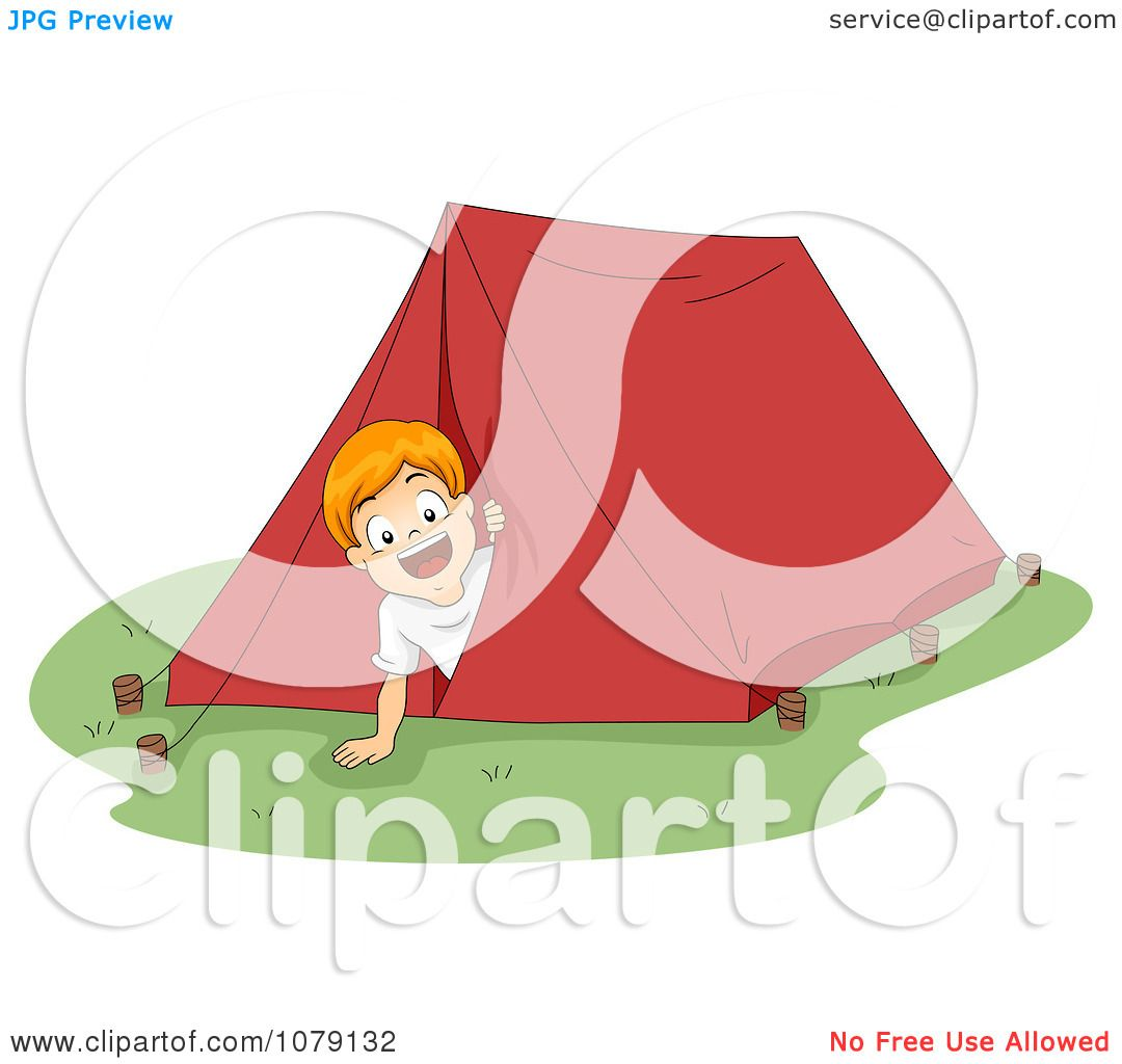 Clipart Summer Camp Boy Peeking Out From A Tent.