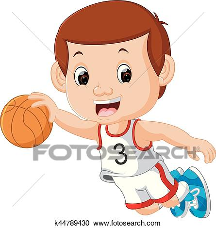 Boys Playing Basketball Sport Clipart.