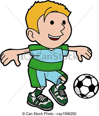 Vector Illustration of Illustration of boy playing soccer.