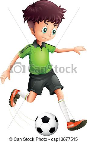 Vector Clip Art of A boy with a green shirt playing soccer.
