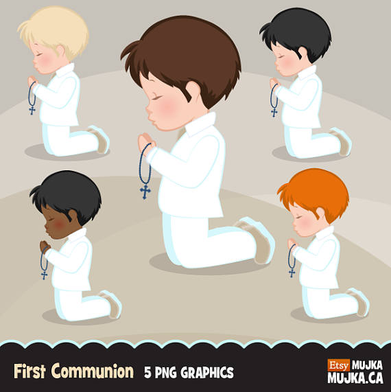 First Communion Clipart for Boys. Characters, graphics, praying boys.