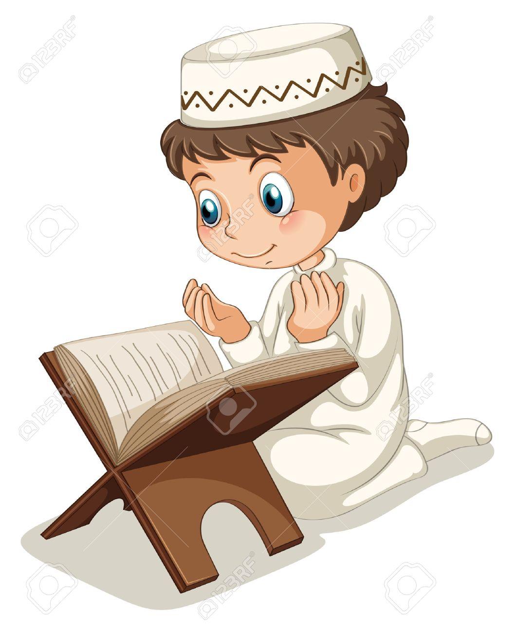 Close up muslim boy praying.