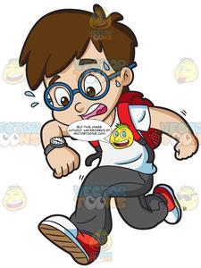 A Boy Running Late.