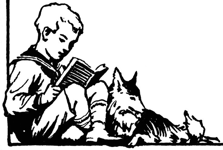 reading to dog drawing.