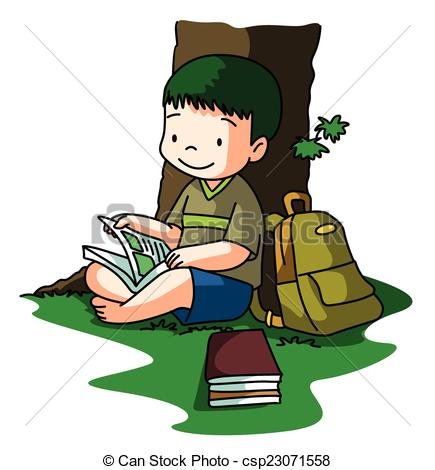 Clipart Vector of Boy reading book under tree csp23071558.
