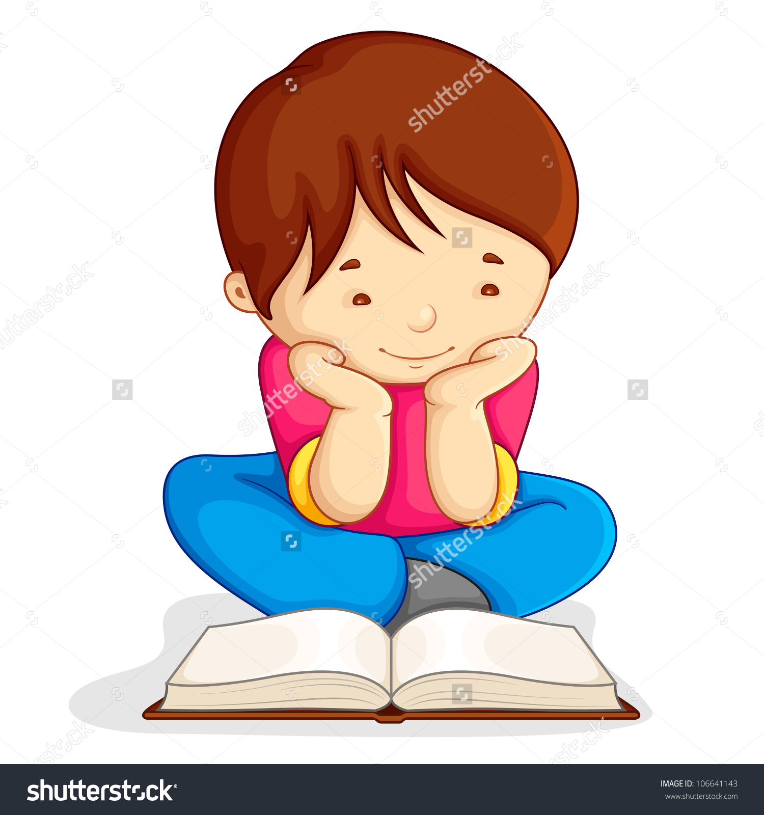 Vector Illustration Boy Reading Open Book Stock Vector 106641143.