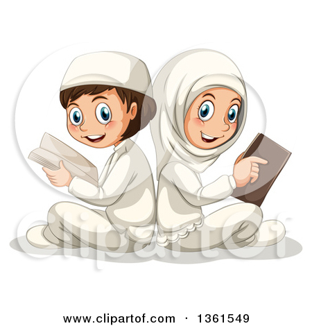 Clipart of a Cartoon Happy Muslim Boy and Girl Sitting Back to.