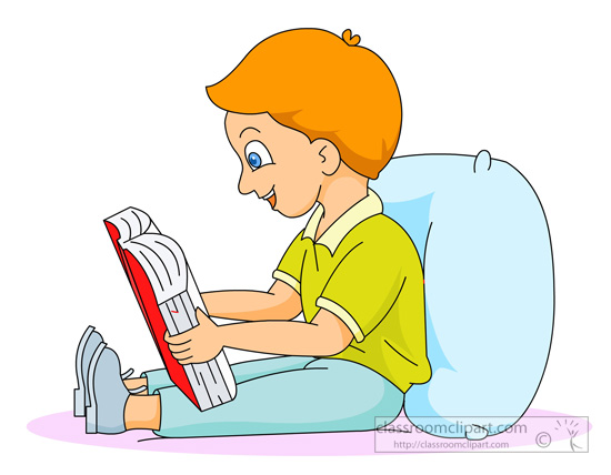 Clipart Boy Sitting And Reading.