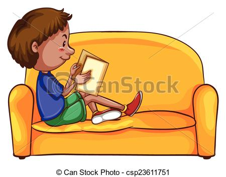 Clipart Vector of A boy reading while sitting down at the yellow.