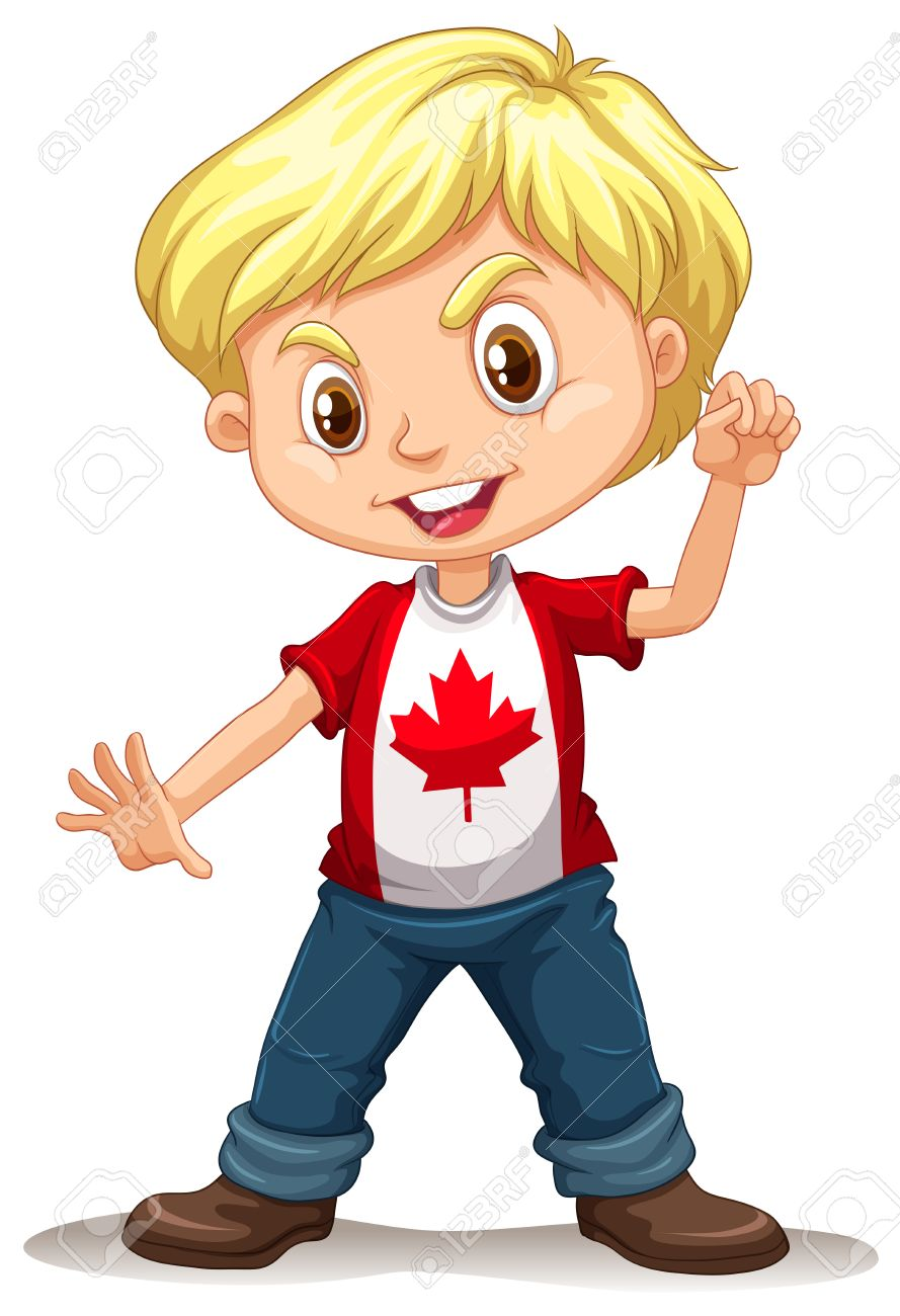 Canadian boy standing alone illustration.