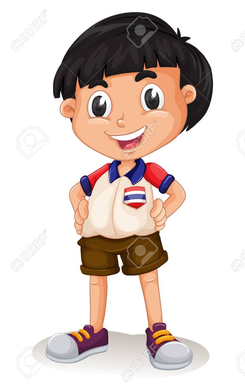 Happy Thai boy standing illustration.