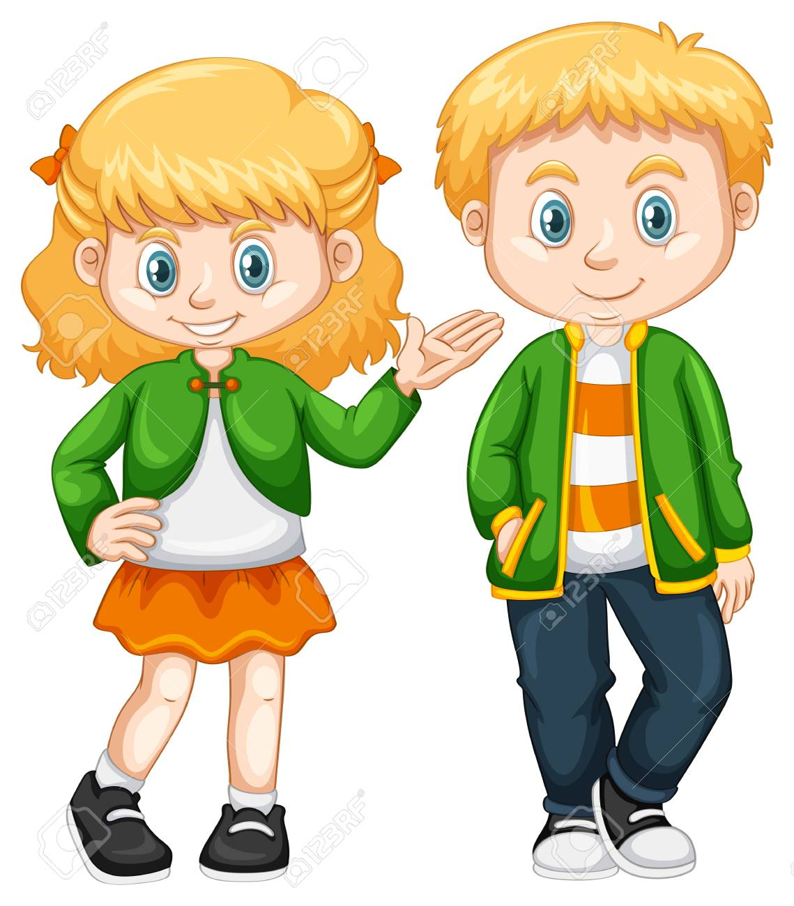 Cute girl and boy standing illustration.