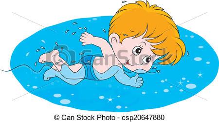 Clip Art Vector of Boy swimming under water.