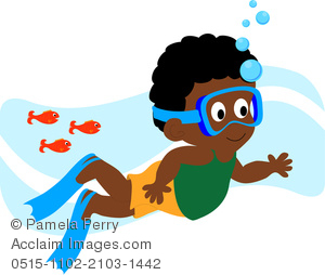 Clip Art Illustration of an African American Boy Swimming With.