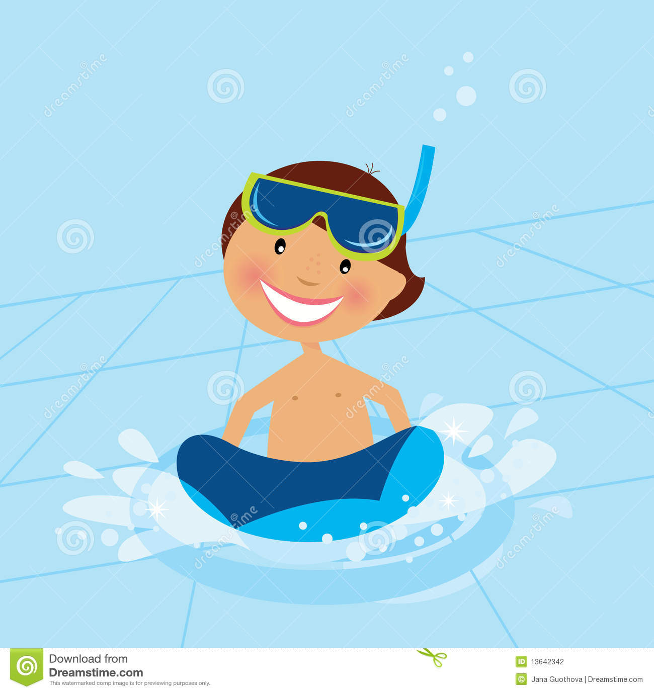 Small Boy Swimming In Water Pool Stock Photography.