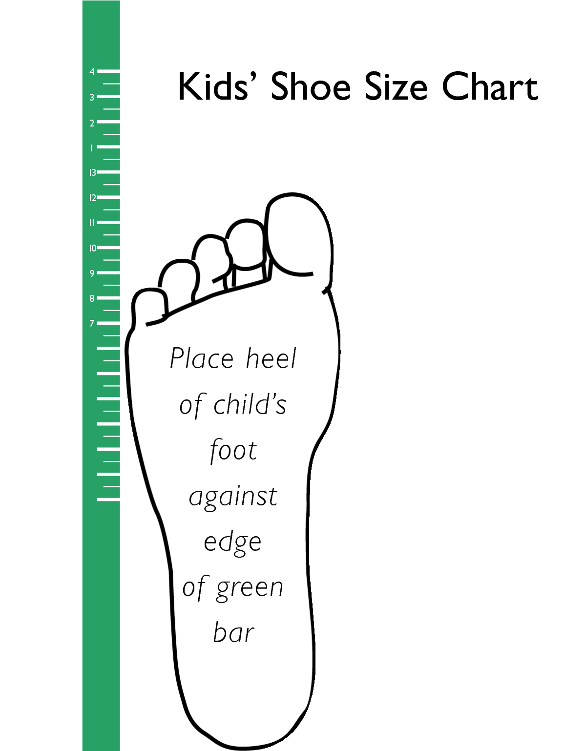 Printable Kids Shoe Size Chart.