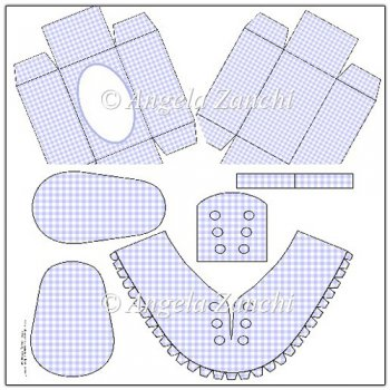 Light Blue Check Baby Trainer Template and Box.
