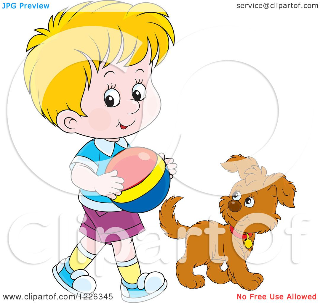 Clipart of a Caucasian Boy Walking with a Puppy and Ball.