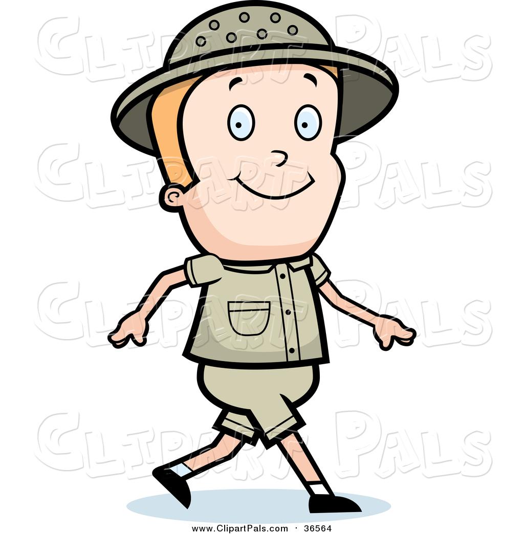 Pal Clipart of a Blond White Safari Boy Walking by Cory Thoman.