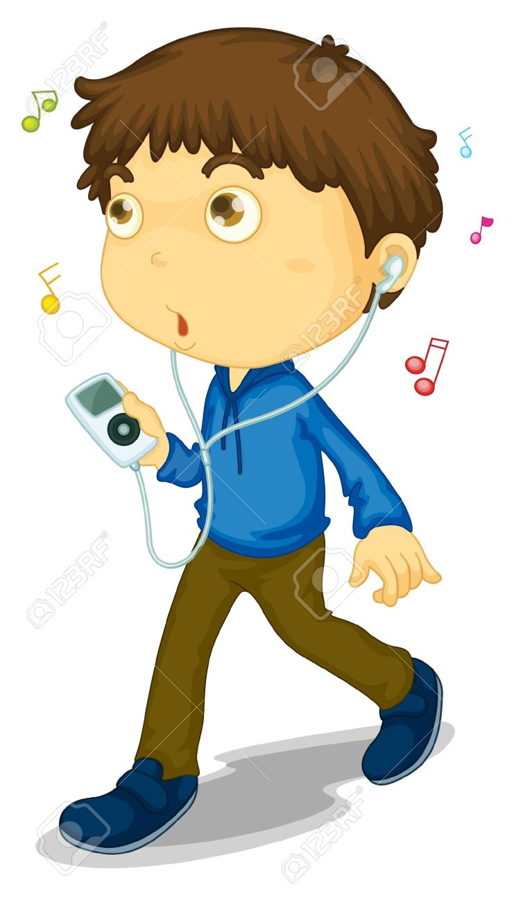Illustration Of Boy Walking With Music Player Royalty Free.
