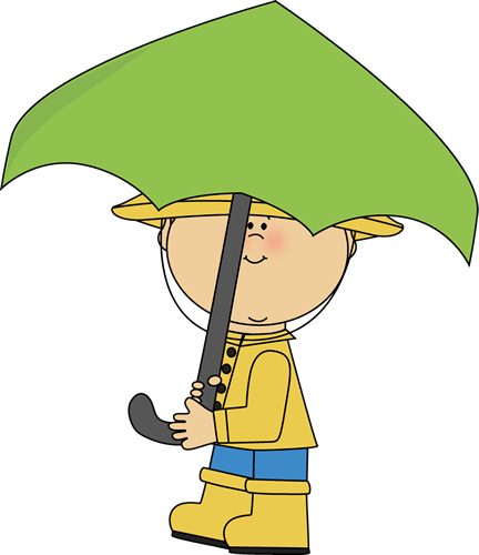 Boy Walking with an Umbrella Clip Art.