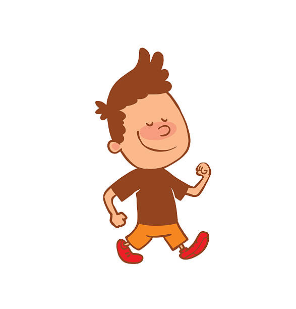 School Boy Cartoon Walking Clip Art, Vector Images & Illustrations.