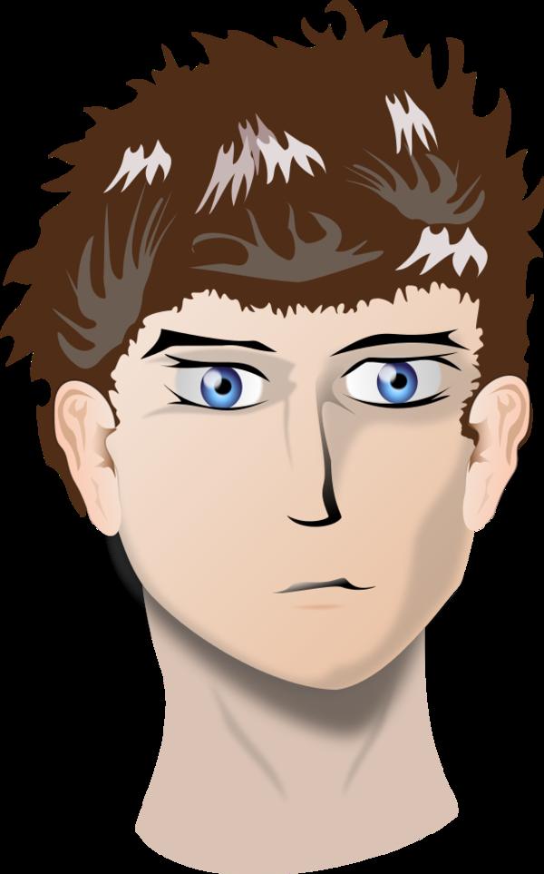 Head of boy with blue eyes.