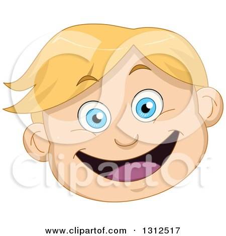 Clipart of a Happy Blond Haired Blue Eyed Caucasian Boy's Face.