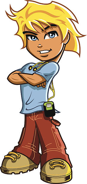 Blonde Hair Blue Eyes Guy Drawing Clip Art, Vector Images.