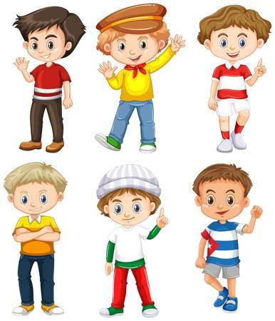 6 Boys Clipart.