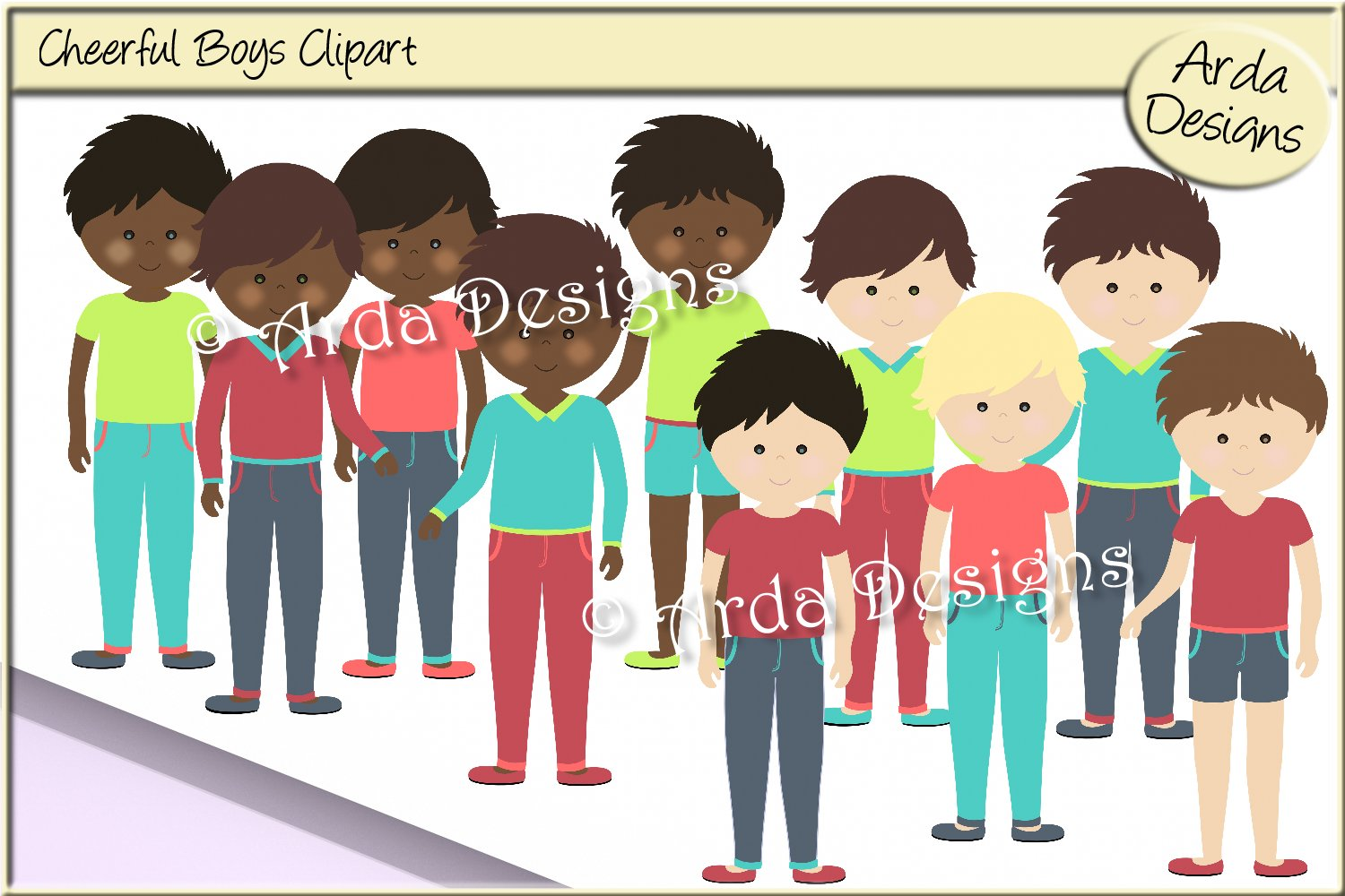 Cheerful Boys Clipart.