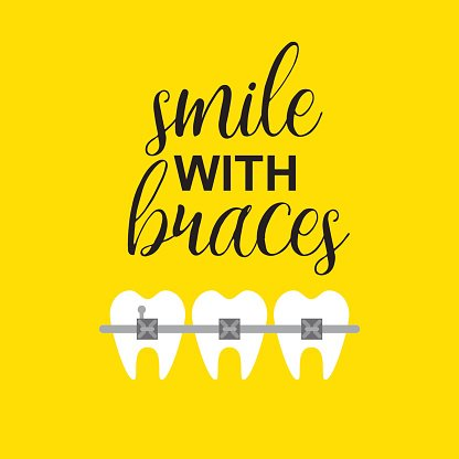 Smile With Braces ON Teeth Vector Illustration premium clipart.