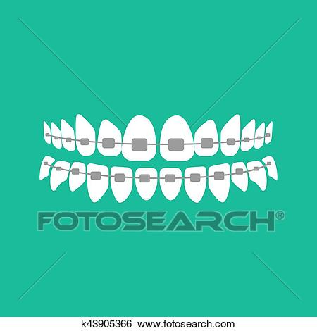 Teeth with braces Clip Art.