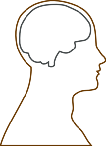 Large Head And Brain Outline Clip Art.