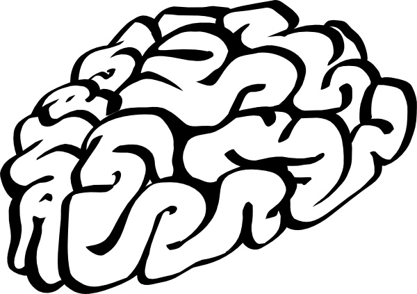 Cartoon Brain Outline clip art Free vector in Open office drawing.