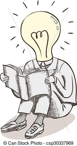 Clip Art Vector of Light bulb moment man, brain power.