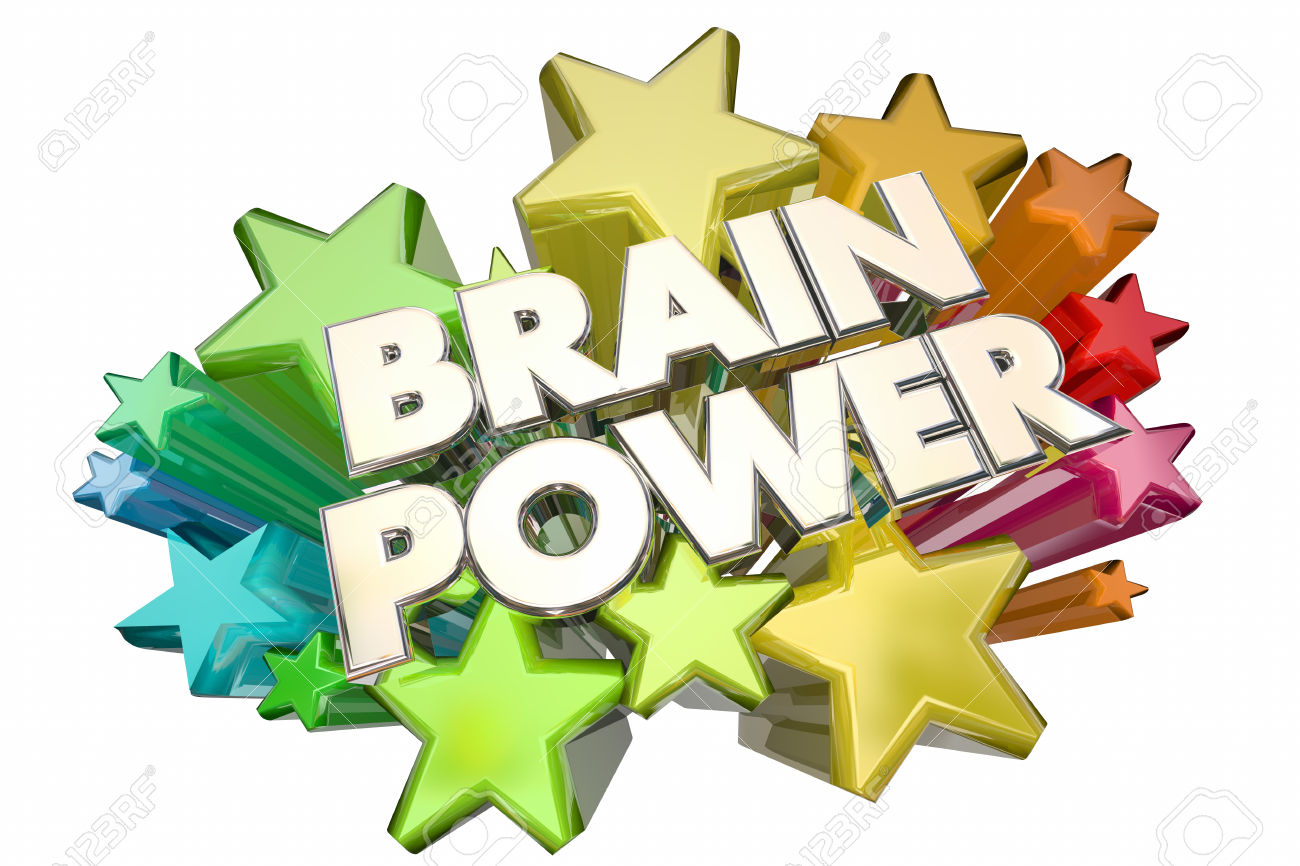 Brain Power Smarts Intelligence IQ Words Stars 3d Illustration.