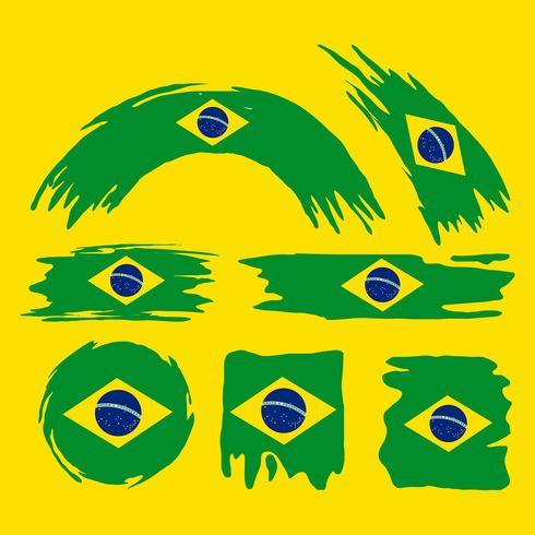 Brush Brasil Flag Clipart Set.
