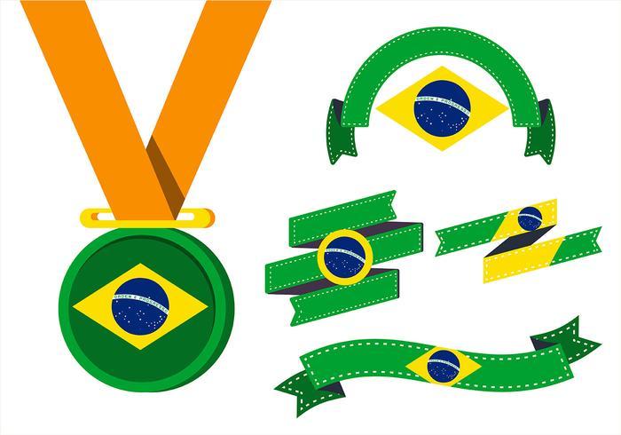 Brasil Flag Clipart Set.