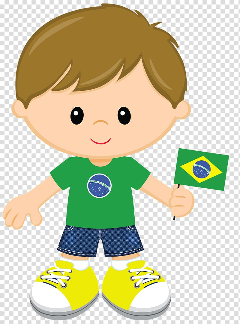 Boy holding Brazil flag illustration, 2014 FIFA World Cup.