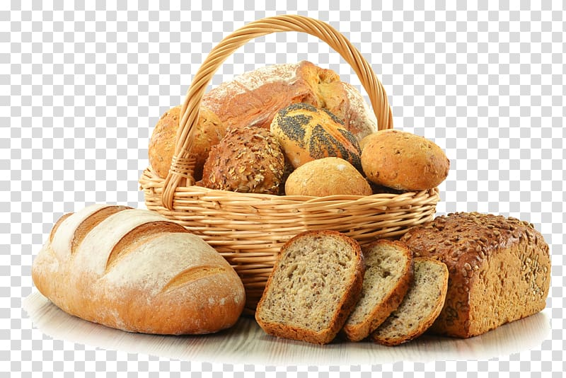 Assorted breads in basket illustration, Bakery Breadbasket.