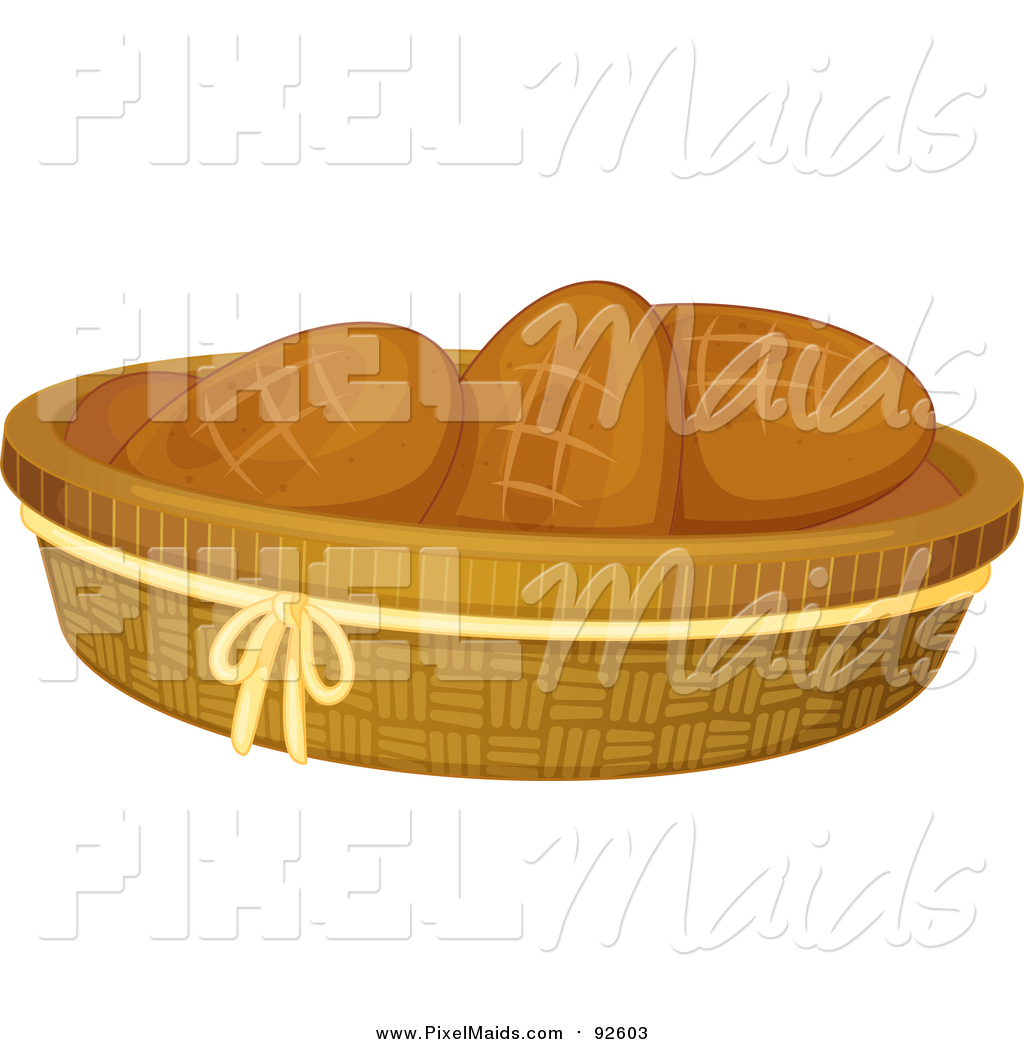 Clipart of a Basket of Bread Rolls by Graphics RF.