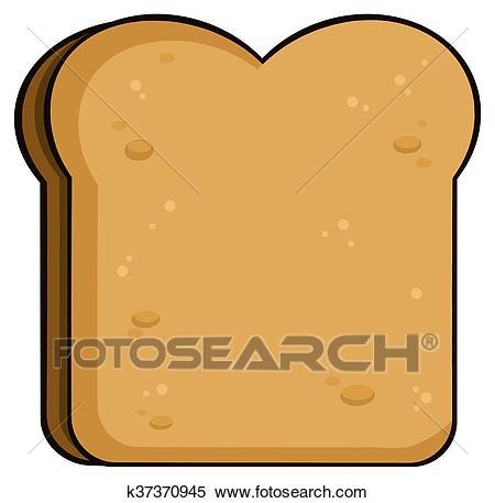 Cartoon Toast Bread Slice Clipart.